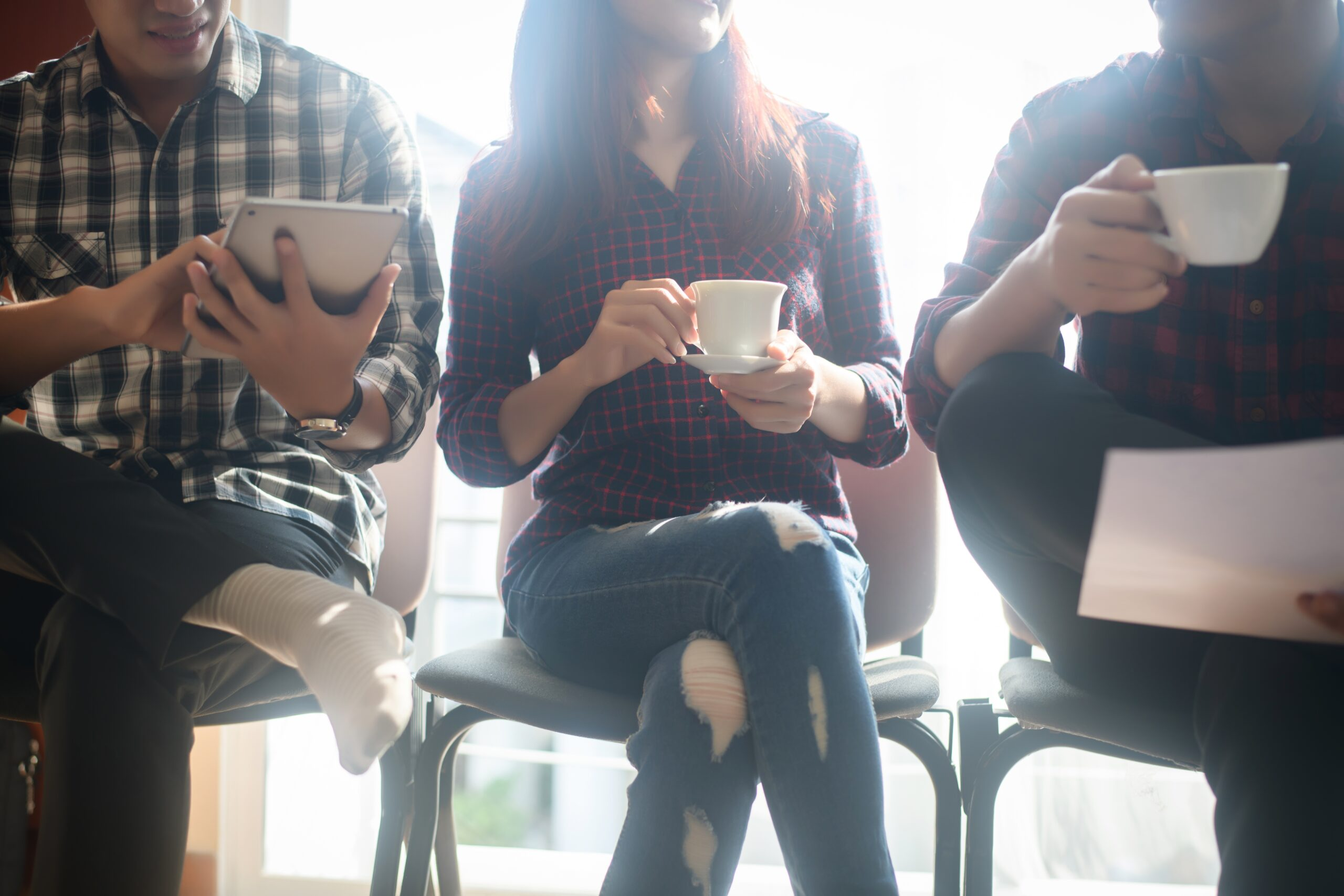 Employees at a relaxed staff meeting